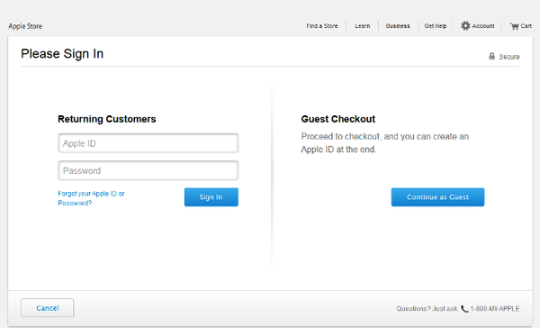 Apple checkout page