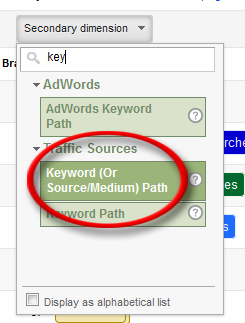 Set the Secondary Dimension on Keyword (Or Source/Medium) Path