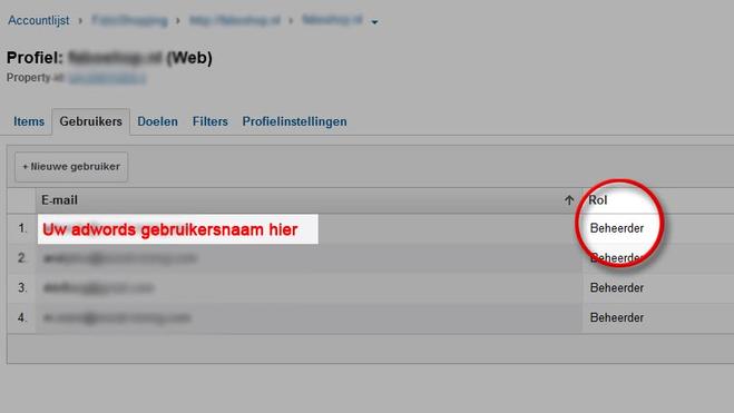 Staat uw Adwords email adres in dit lijstje als beheerder?