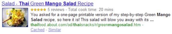 Recipe markup