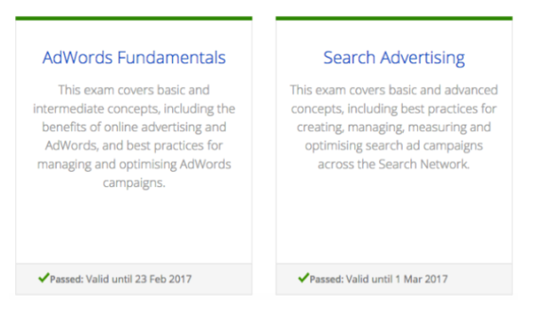 Complete guide to google adwords certification tips tricks you can view your certificates and their corresponding validity on the my profile page of your google partners account fandeluxe Gallery