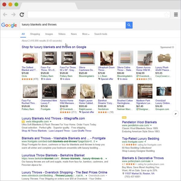 Voorbeeld van Google Shopping