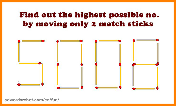 What is the largest number you can get by moving 2 matches?