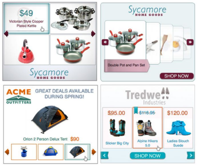 Example of Dynamic Remarketing advertisements with interactive products