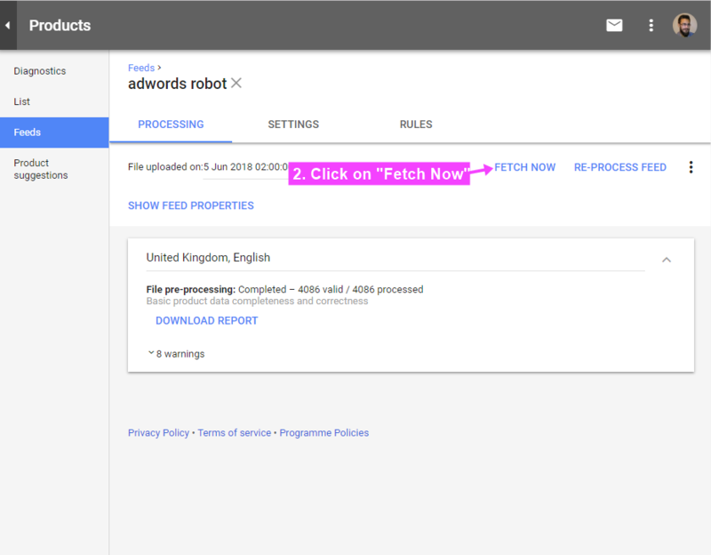 Refetch the feed in Google Merchant — AdWords Robot