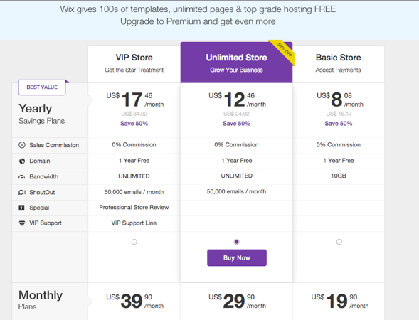 WixStores Pricing Plans